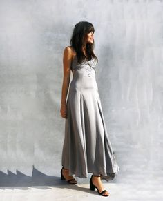 "Vintage Grey Beaded Silk Wedding Dress - Ada's Attic Vintage - Enter ""Pinterest10"" at the checkout to get 10% off your whole order =D"