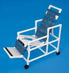 "Tilt Shower Chair    MODEL # REC1000  *60"" long fully reclined (54"" long in upright position) * 6 position Adjustable Recliner * Fixed angle of seat to back 90 degrees * 18.5"" between the arms (22"" wide overall) * 4"" Twin wheel caster * 300 lb. capacity * Swing away arm on left side * Safety belt included  Optional Items: -Head Stabilizer (HS) -Privacy Skirt (PS) -Pail (C7) -Upgraded Wheels"