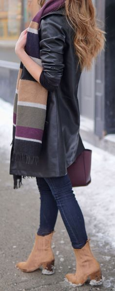 WINTER - SPRING TRANSITION OUTFIT ON SALE / black faux leather trench coat with skinny jeans and pops of camel and burgundy. Plaid blanket scarf color block from Dynamite and camel booties from Marc Fisher #fashion #blog #blogger #fashionblog #winter #spring #outfit Marie's Bazaar