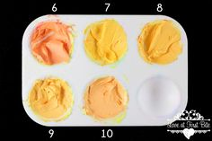 """Mixing Tertiary Colors The Easy Way""""Primary"""" Electric Yellow mixed with oranges (6) Terracotta (7) Electric Orange (8) Orange (9) Copper (10) Peach"""