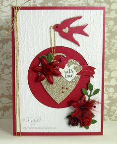Kathy's Waffle for Spellbinders Swallow and Heart Shapeabilities Etched Dies