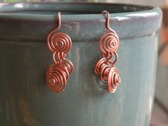 Copper Earrings Graduated Copper Swirls by BGPainter on Etsy, $12.00