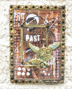Steampunk frame in frame card, by Irit Shalom, using stamps from rubberdance.com and chipboards from eyeconnectcrafts.com Cooool!
