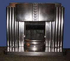 Polished art deco fireplace from Britains Heritage Fireplaces Art Deco Fireplace, Cast Iron Fireplace, Fireplace Design, Fireplace Grate, Fireplace Ideas, Fireplaces For Sale, Indoor Fireplaces, Art Nouveau, Console