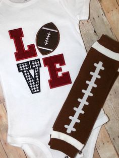 PICK YOU TEAM Football Love Shirt or Onesie and football leg warmers