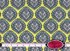BLUE CITRON & GRAY Medallion Fabric by the Yard Half by FabricBrat