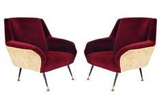 "Zanuso-Style Italian Lounge Chairs, Pair on OneKingsLane.com 30"" L x 30"" W x 32"" H"