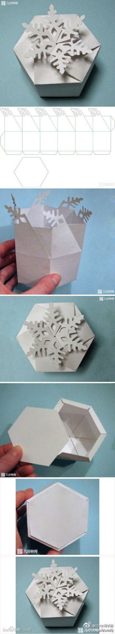 Basteln Paper box with a snowflake But it is important to remember that just starting out that you a Origami Paper, Diy Paper, Paper Art, Paper Crafts, Diy And Crafts, Arts And Crafts, Snow Flakes Diy, Navidad Diy, Diy Box