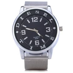 9024 Letter Scales Male Quartz Watch with Steel Net Band #shoes, #jewelry, #women, #men, #hats, #watches, #belts