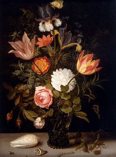 Date unknown - Ast, Balthasar Van Der - Still Life Of Roses, Tulips, Irises, An African Marigold And Other Flowers In A Roemer Resting On A Ledge, With Two Shells, A Butterfly And Other Insects