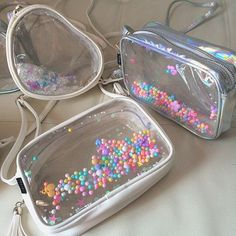 White Leather Clear Cross Body Bag with Colorful by pingypearshop