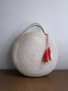 Basket Bag, Round || Cotton Rope Bag - White Summer Market Shopper || Coil Rope Circle Purse - MADE TO ORDER