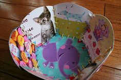 Valentine's Day Craft: Re-Cycled Card Basket from Pink and Green Mama