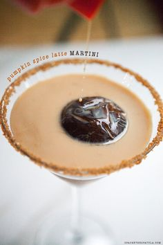 Pumpkin Spice Latte Martini with espresso ice spheres! The best version of the PSL, yet! #cocktails