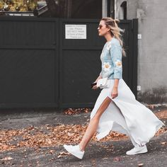 Baby Blue Sweater With Floral Prints, White Maxi Slit Skirt, White Sneakers, Street Style #fashion