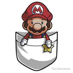 'Pocket Mario Tshirt' T-Shirt by Purrdemonium Nintendo, Super Smash Bros, Super Mario Bros, Pokemon, Tee Design, Graphic Design, Mario And Luigi, Mario Brothers, Video Game Art