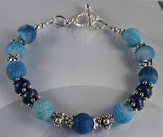 Mooie snakeskin Agate lapis lazuli  Armband/Bracelet