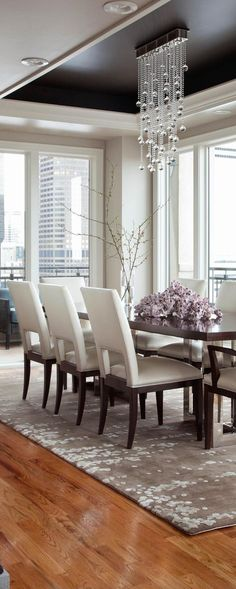 Dining Room Decor Ideas   Transitional Glam Style In Cream And Grey With  Dark Accent Ceiling. Waterfall Glass Ball Light Fixture, Traditional  Furniture And ...