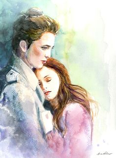 Twilight Edward and Bella  - In his arms - Watercolor painting. Not pinning for the Twilight aspect, I just like the watercolor technique