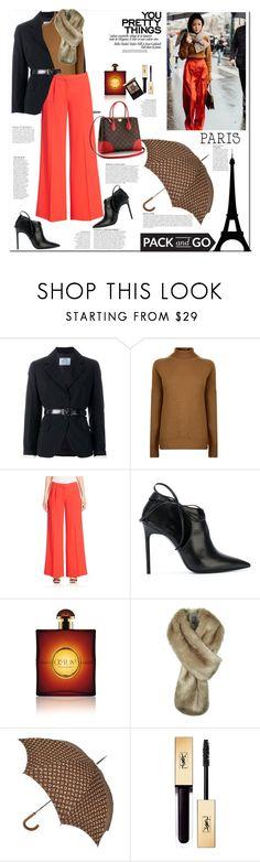 """Pack and Go: Paris Fashion Week"" by ellie366 ❤ liked on Polyvore featuring Prada, Victoria Beckham, Mary Katrantzou, Yves Saint Laurent, Anja, Louis Vuitton, widelegpants, blackbooties, parisfashionweek and Packandgo"