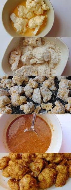 Coliflor al horno con salsa de soja y sésamo