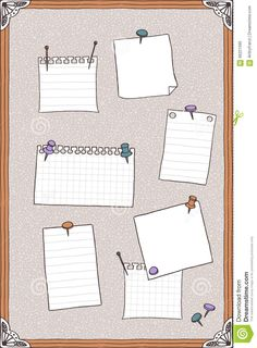 Hand drawn illustration of pin board, pins, needles, and empty note. Note Paper, Free Vector Art, How To Draw Hands, Bullet Journal, Notes, Illustration, Illustrations