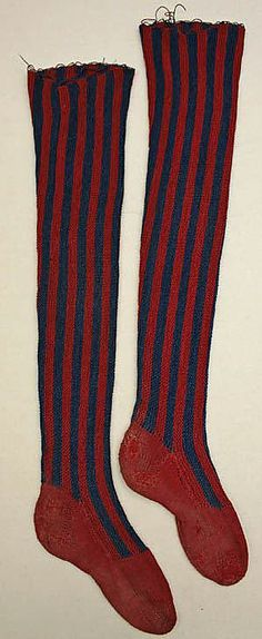 vertical strip mid 18th century stocking knit socks