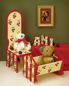 Children's Cherry Furniture  This adorably painted furniture is a perfect fit for any child's room. The cherries bring out the innocence. Using acrylic paints and wood material you can make this a DIY project for the bedroom.