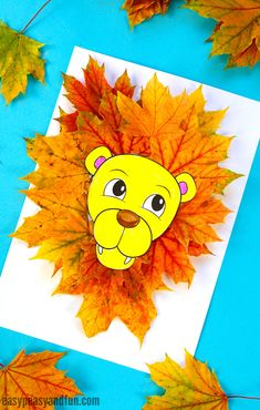 leaf crafts Go on a wonderful nature craft and pick up some colorful leaves while you are at it as youll need them to make this wonderful lion leaf craft! Fall Paper Crafts, Fall Arts And Crafts, Easy Fall Crafts, Fall Crafts For Kids, Kids Crafts, Art For Kids, Fall Crafts For Preschoolers, Fall Toddler Crafts, Animal Crafts For Kids