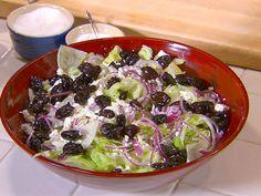 Feta, Black Olive, and Oregano Salad (aka Pizza Parlor Salad) recipe from Dave Lieberman via Food Network