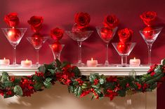 Weihnachtsdeko Ideen für Kamin martini gläser rosen