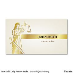 Playing around on zazzle lawyer business cards pinterest faux gold lady justice professional attorney business card reheart Images