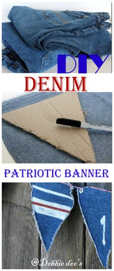 How to make a denim banner from recycled jeans, and a bleach pen.