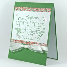 Cheerful handcrafted Christmas card with traditional green and red trim colors @zousha #bmecountdown