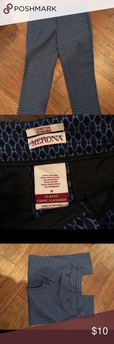 Merona brand pants Super nice blue patterned slacks.  Straight to tapered leg.  Sewn pockets.  In excellent condition! Merona Pants Ankle & Cropped