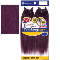 """Freetress Pre-Loop Crochet Yaky 10"""" - Color PU - Synthetic Braiding"""