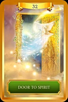 "Daily Angel Oracle Card, from the Energy Oracle Card deck, by Sandra Anne Taylor: Door To Spirit Door To Spirit: ""Spiritual Awakenings and New Beginnings."" Upright: ""This door opens onto the expans..."