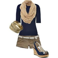 Love the shirt and scarf, not too crazy about the shorts and heels