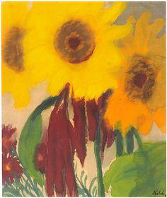 Emil Nolde / one of my favorite artists Emil Nolde, Abstract Flowers, Watercolor Flowers, Watercolor Art, Painting Flowers, Degenerate Art, Raoul Dufy, Sunflower Art, Garden Painting