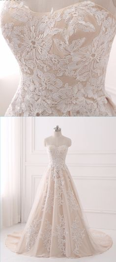 Sweetheart light champagne tulle A-line long train prom dress with appliques #prom #dress #promdress #promdresses