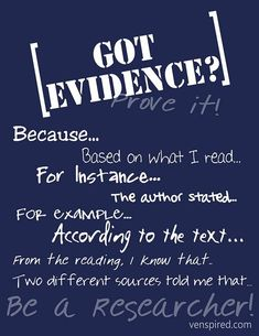 Great sentence starters for providing evidence from the text.