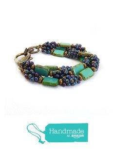 Featured in BeadStyle Magazine -Turquoise Beaded Bracelet - Picasso Glass - Seed Beads - Multistrand Bracelet from Rock StoneTreasures