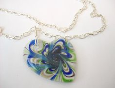 Green and Blue Glass Pendant Necklace on Silver Plated Chain by KristasJewellery, $18.00