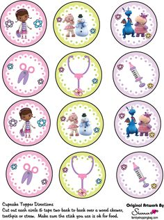 Cupcake Toppers, Doc McStuffins, Party Decorations - Free Printable Ideas from… Doc Mcstuffins Cupcakes, Doc Mcstuffins Birthday Party, 4th Birthday Parties, Birthday Fun, Doctor Mcstuffins, Dr Mcstuffin, Cupcake Toppers, Party Themes, Party Ideas