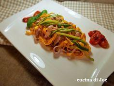 Ricetta Portata principale : Tagliolini con calamari spillo, al pesto di mandorle e ricotta infornata. da Giocor64