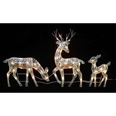 Christmas Outdoor Decoration White Glittered Doe Fawn And Reindeer Lighted 3