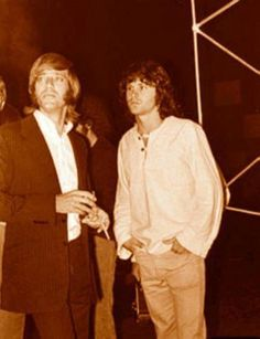 1968 Sept - Ray Manzarek and Jim Morrison. Ray Manzarek, The Doors Jim Morrison, Elevator Music, The Doors Of Perception, Classic Rock And Roll, John James, American Poets, Morrisons, Lady And Gentlemen