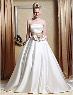 Wedding Dress A Line Chapel Train Satin Strapless Bridal Gow... – USD $ 109.99