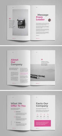18 unique pages – Brochure Templates – Magazine Booklet Design Layout, Design Brochure, Brochure Layout, Book Layout, Page Layout Design, Brochure Ideas, Text Layout, Layout Template, Design Templates