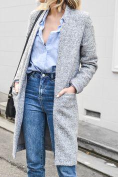 Fall fashion inspiration - long grey coat, high-waisted jeans, button down shirt